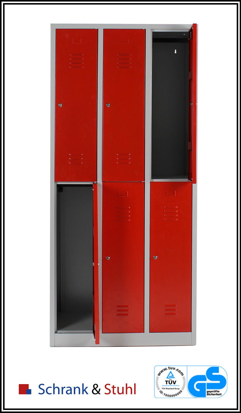 kleiderspind 2x3 abteile 6 f cher kleiderspint metallspind metallspint spind rot ebay. Black Bedroom Furniture Sets. Home Design Ideas