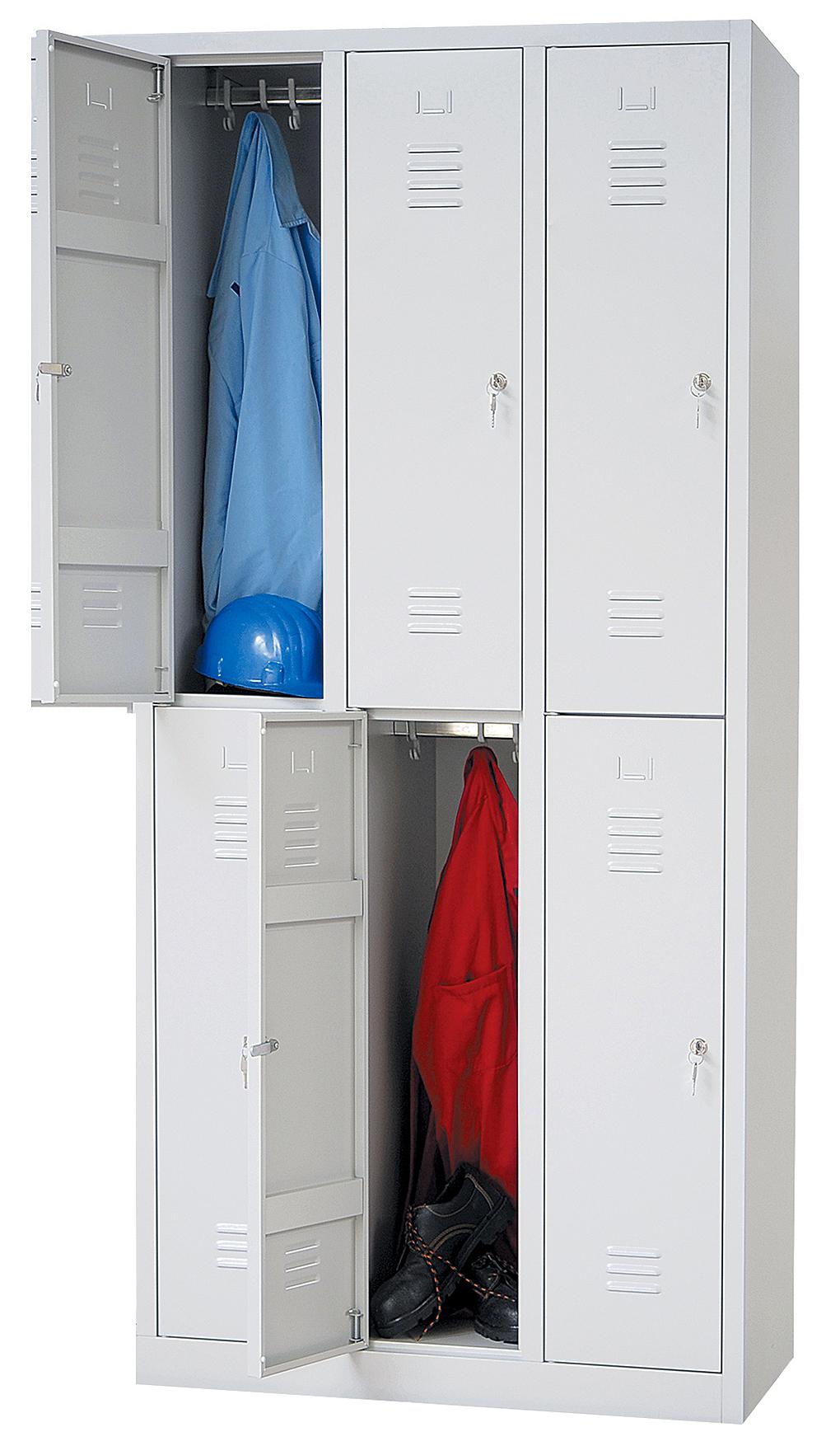 garderobenschrank 2x3 abteile 6 f cher spind spint stahlspind stahlspint grau 4260402610054 ebay. Black Bedroom Furniture Sets. Home Design Ideas