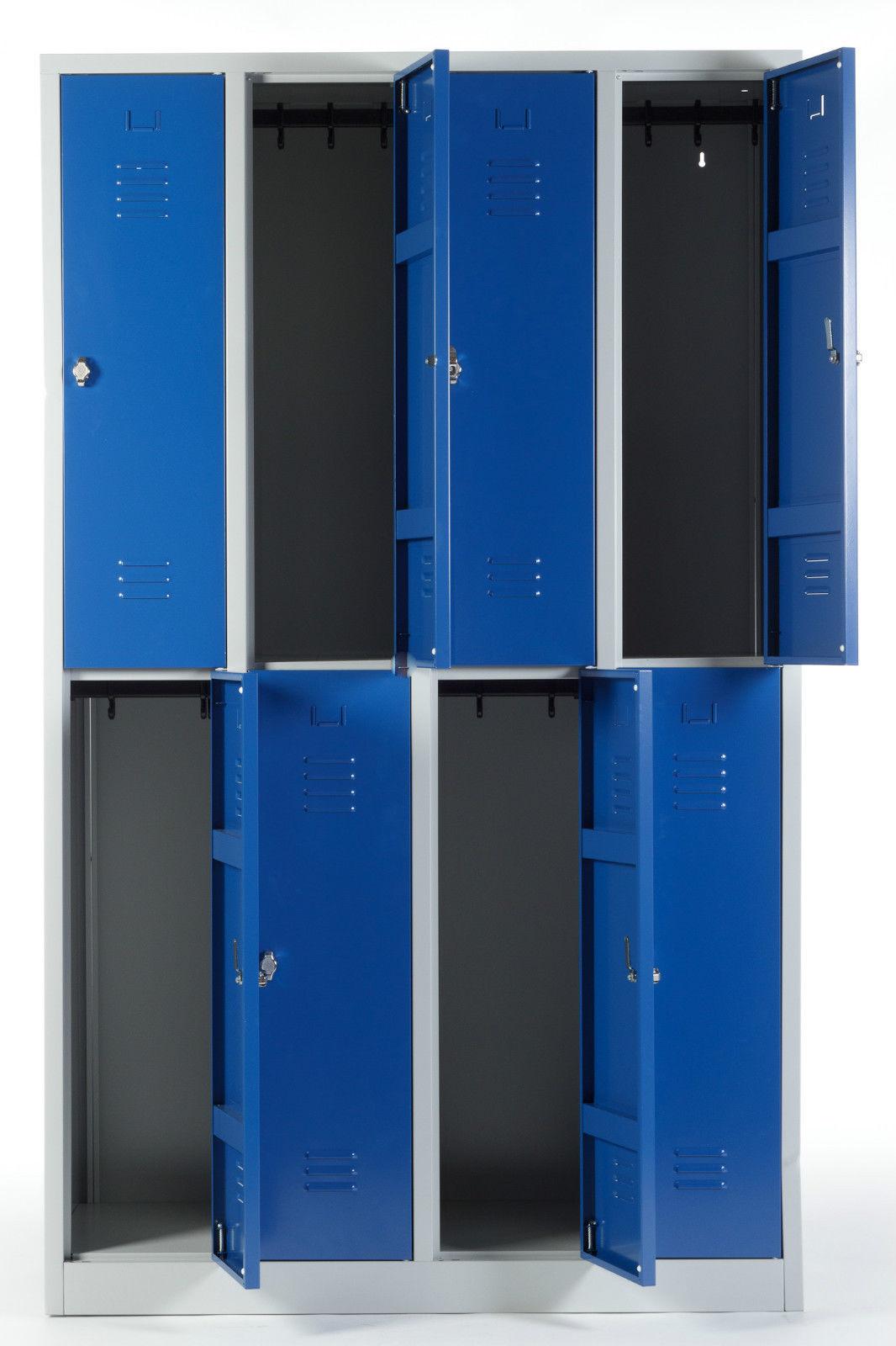 kleiderspind 2x4 abteile 8 f cher stahlspind garderobenspind doppelst ckig blau ebay. Black Bedroom Furniture Sets. Home Design Ideas