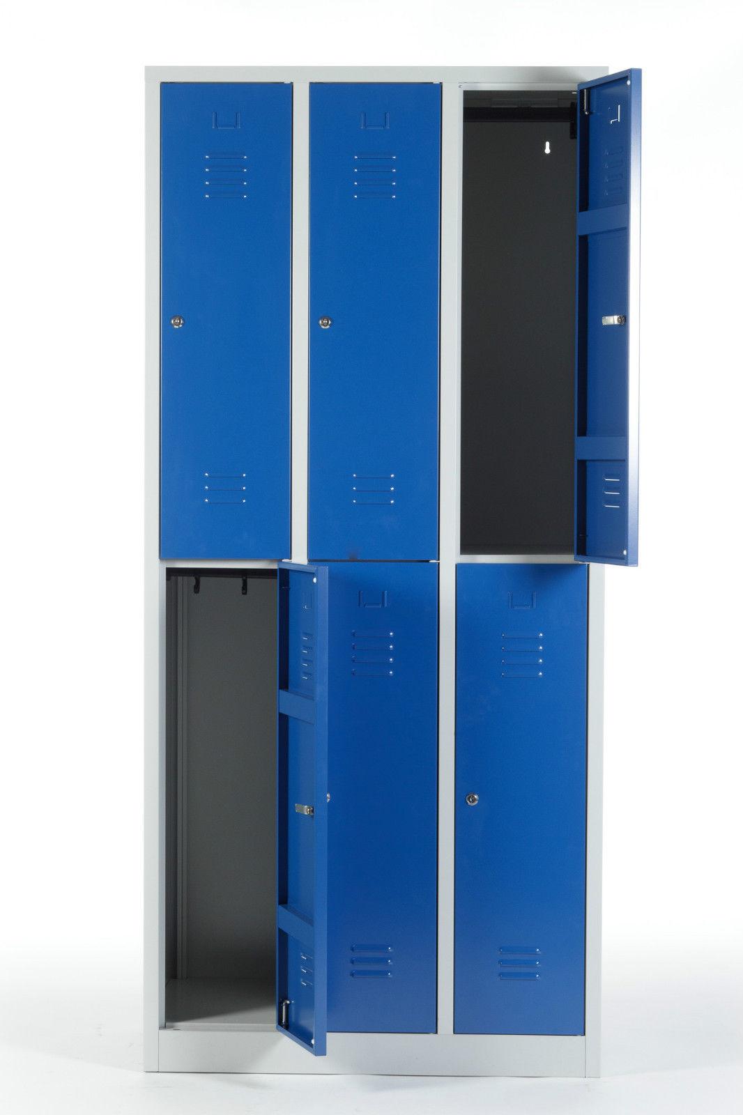 kleiderspind 2x3 abteile 6 f cher metallspind metallspint spind doppelspind blau ebay. Black Bedroom Furniture Sets. Home Design Ideas