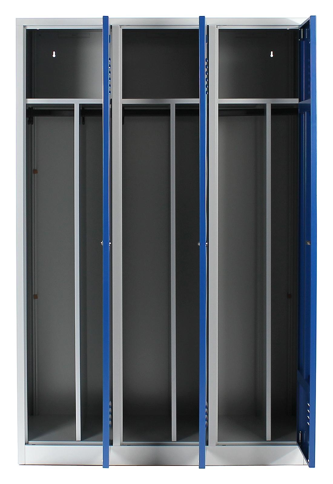 spind spint stahlspind 3 abteile f che 40 cm trennwand reine unreine seite blau ebay. Black Bedroom Furniture Sets. Home Design Ideas